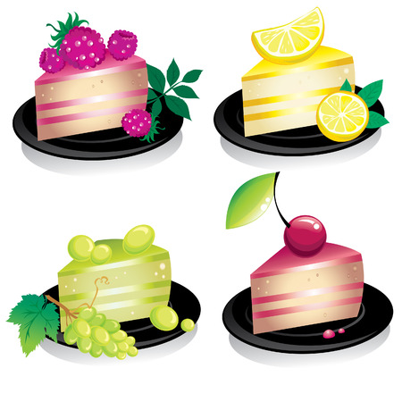 gelatin: Set of delicious cheese cakes with fruits and berries
