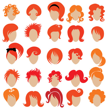 dreads: Big set of vector red hair styling 3