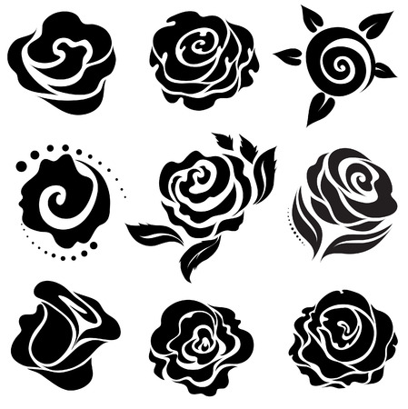 róża: Set of Black Rose elementów projektu kwiat