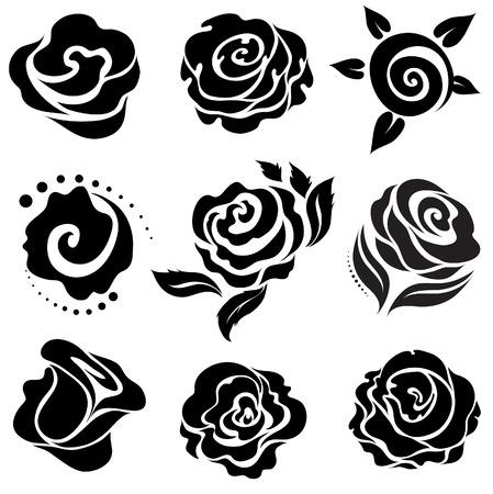 Set of black rose flower design elements Vector
