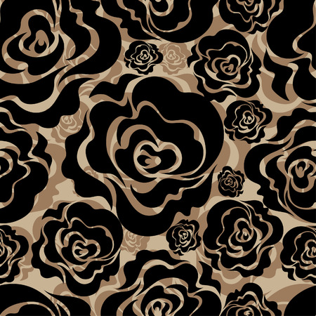 black roses: Seamless floral pattern with roses
