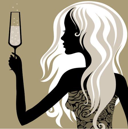fashion bril: Closeup decoratieve vintage blonde vrouw met een glas champagne (Uit mijn grote