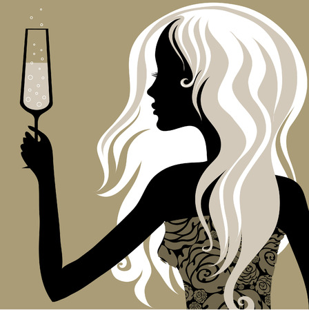 Closeup decorative vintage blond woman with glass of champagne (From my big  Vector