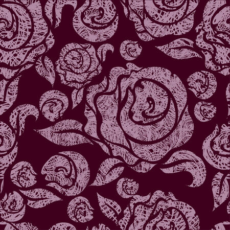 hatchwork: Seamless vintage grunge floral pattern with pink roses  (From my big