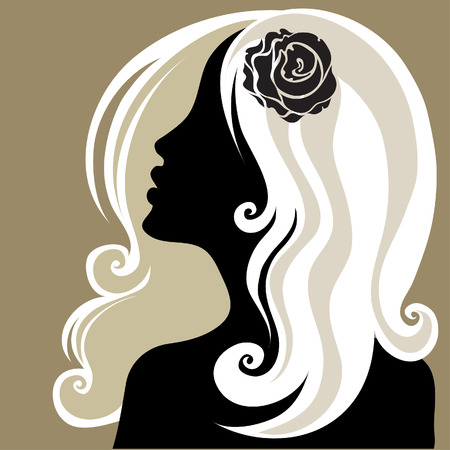 Closeup decorative vintage woman with flower in the hair (From my big  Vector