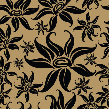 Seamless vintage beige pattern with flowers (From my big  Vector