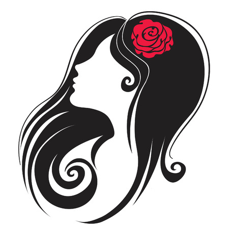 fairy silhouette: Decorative  portrait of woman with flower in the hair (From my big