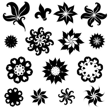 rose bush: Set of black rose flower design elements