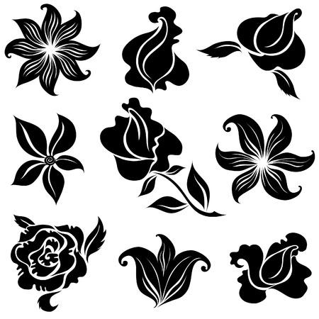 botanics: Set of black rose flower design elements