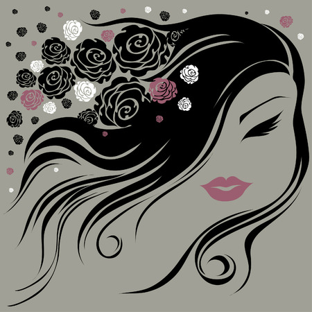 Decorative vintage woman with flowers in the hair (From my big  Vector