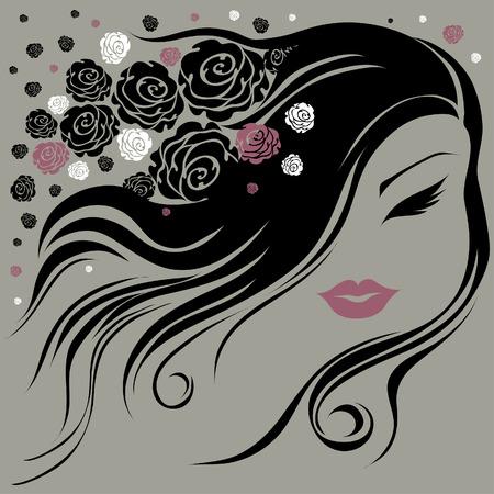 Dekorative alte Frau mit Blumen im Haar (Aus meiner großen