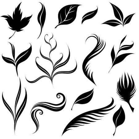 Set of leafs and plants design elements Illustration