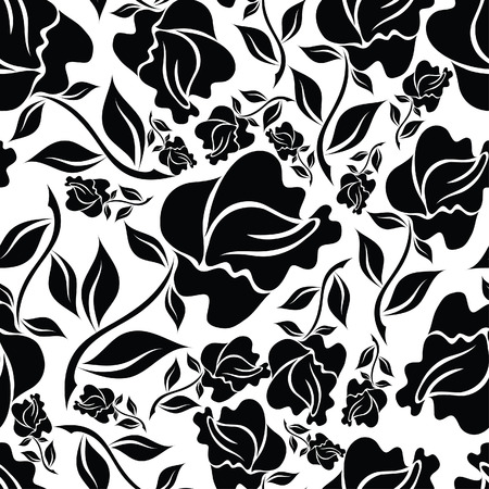 retro seamless pattern: Seamless vintage floral pattern with roses (From my big  Illustration