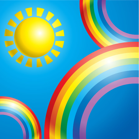 Summer sky background with colorful rainbow Vector