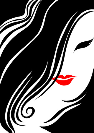 womanish: Closeup vintage woman with beautiful hair and make-up Illustration