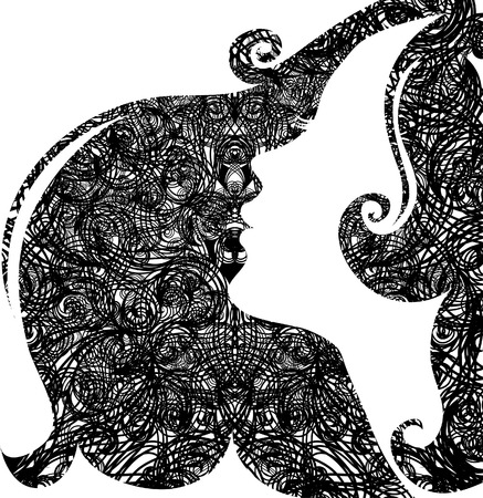 fairy silhouette: Decorative grunge closeup portrait of woman with long hair (From my big