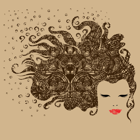 Grunge ornate portrait of a beautiful vintage girl (from my big  Vector