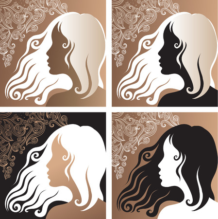 amative: Four closeup ornate portraits of a beautiful vintage girl Illustration