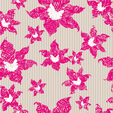 Grunge seamless vintage pattern with pink orchids Vector