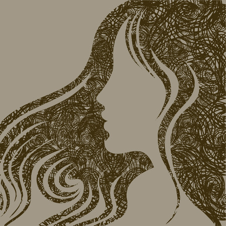 Closeup decorative vintage grunge woman with beautiful hair Stock Vector - 5373283