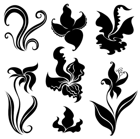 rose bush: Set of black flower design elements