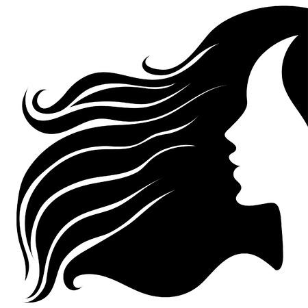 Closeup donna vintage decorative con bellissimi capelli lunghi (dal mio Vettoriali