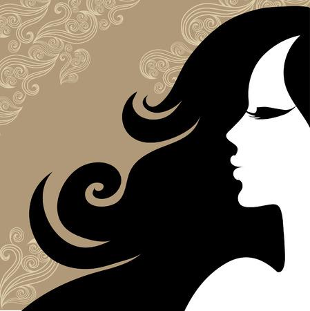 hairstyling: Closeup mujer vintage decorativos con el pelo largo hermoso (Desde mi