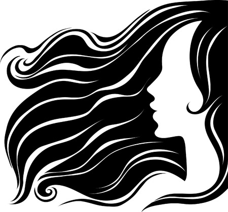 Closeup decorative vintage woman with beautiful long hair (From my  Stock Vector - 5373255