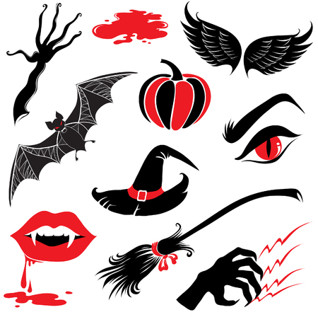 Vector Halloween design elements with scary symbols Vector