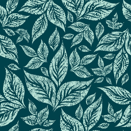 Seamless vintage grunge blue floral pattern with leafs (From my big