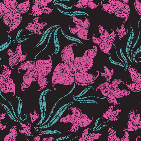 Seamless vintage grunge floral pattern with pink orchid (From my big  Vector