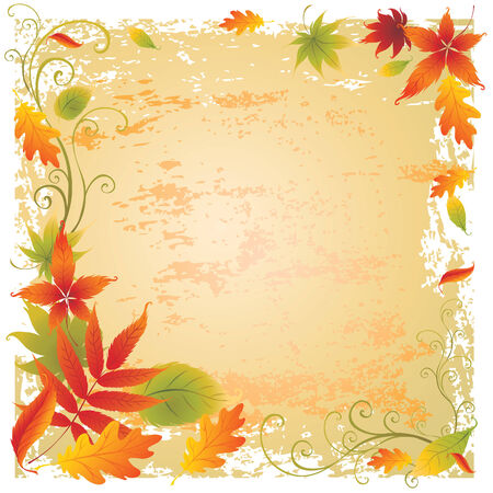 Grunge vector background with colorful Autumn Leaves. Thanksgiving Stock Vector - 5373274