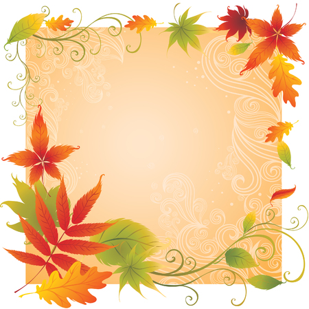 Grunge vector background with colorful Autumn Leaves. Thanksgiving Vector