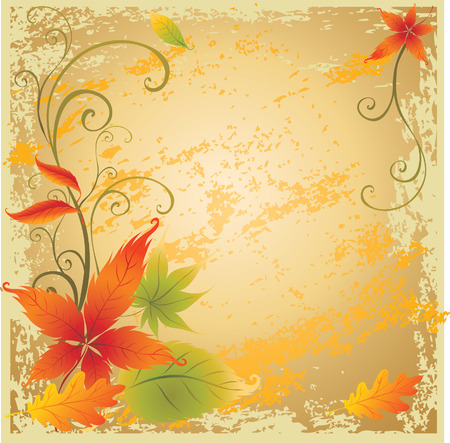 Grunge vector background with colorful Autumn Leaves. Thanksgiving