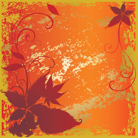 Grunge vector background with colorful Autumn Leaves. Thanksgiving Stock Vector - 5373264