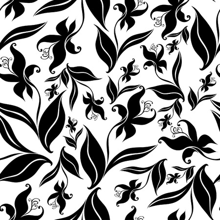 Seamless vintage floral pattern with orchid  Vector