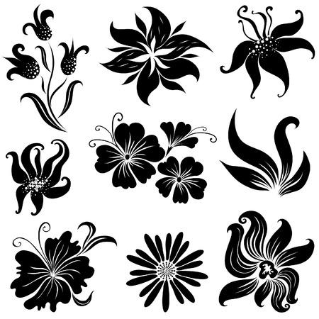 brie:  Zwarte bloem ontwerp elementen (van mijn grote verzameling  Stock Illustratie