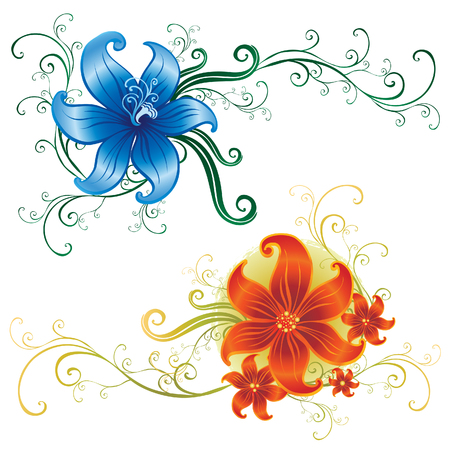 Two beautiful vintage vector ornate lillies (From my big