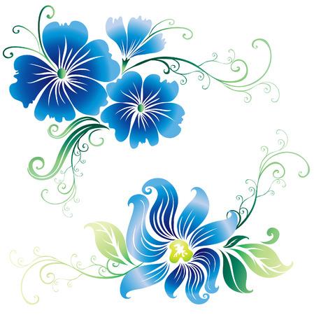 botanics: Beautiful vintage vector blue ornate flowers (From my big