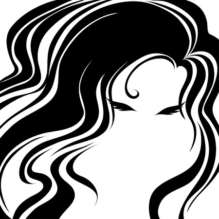 Closeup decorative vintage woman with beautiful long hair (From my  Vector