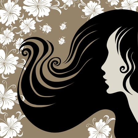 Closeup decorative vintage woman with beautiful long hair with flower (From my  Vector