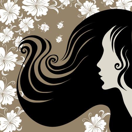 cabello largo y hermoso: Mujer de cosecha de detalle decorativa con hermoso pelo largo con flor (de mi