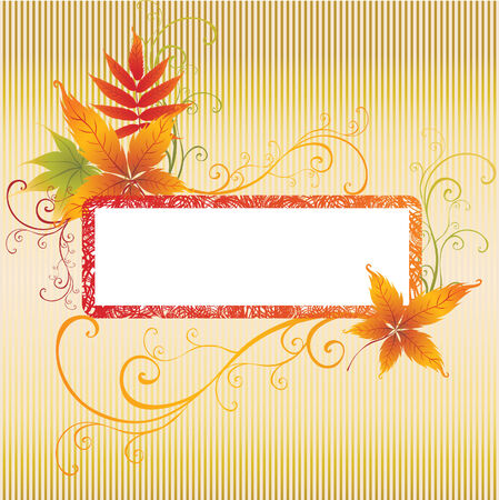 Grunge vector frame background with colorful Autumn Leafs. Thanksgiving (From my big Stock Vector - 5408889