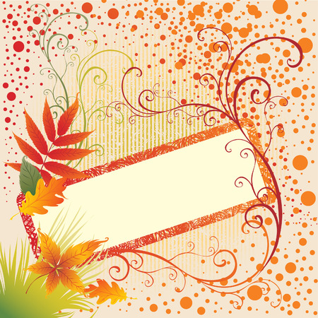 Grunge vector frame background with colorful Autumn Leafs. Thanksgiving (From my big Stock Vector - 5408893
