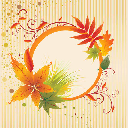 Vector frame with colorful Autumn Leafs. Thanksgiving (From my big Stock Vector - 5408895