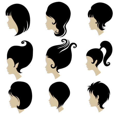 styling: Vector set of black hair styling for woman