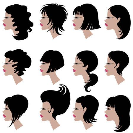 Vector serie de cortes de cabello negro para la mujer de