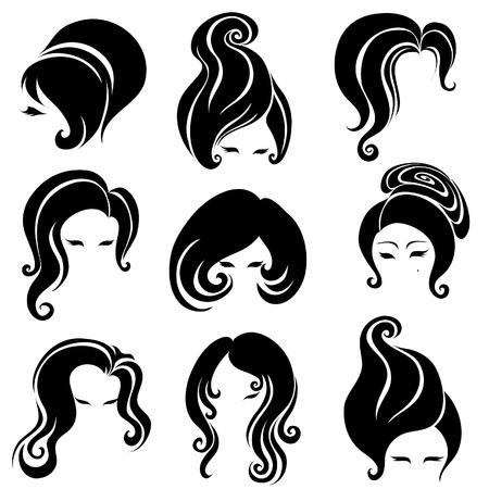 black hair: Big set of black hair styling for woman  Illustration