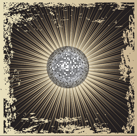 mirrorball: Vector grunge background - CD Cover design with disco-ball