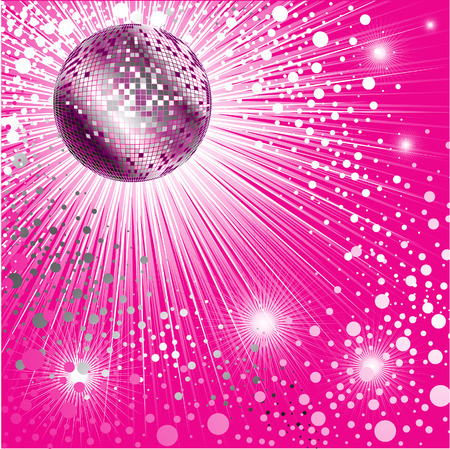 glance: Vector background - pink CD Cover design with disco-ball and glitters Illustration
